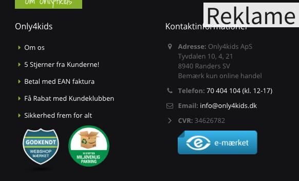 Udsnit fra Only4Kids.dk, der blandt andet sælger fodboldmål.